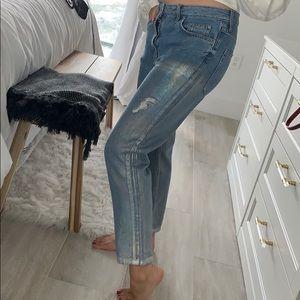 Topshop Metallic Dipped Boyfriend Ripped Jeans